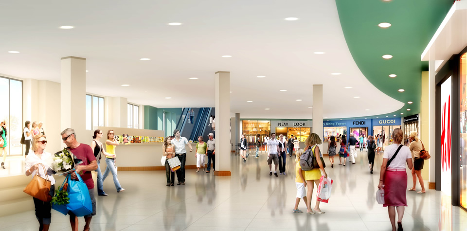 An image of the inside of waterside shopping centre.