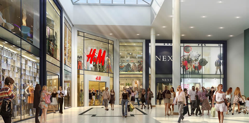 An image of two new units for H&M and Next inside Waterside Shopping Centre.