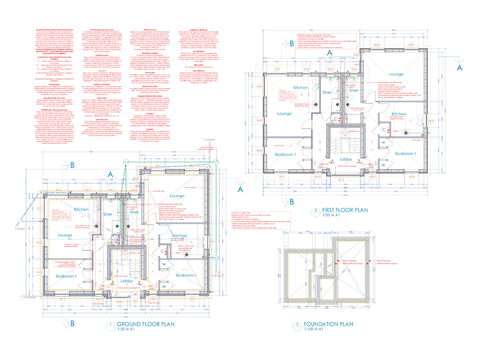 An image of in depth architectural plans for each each floor inside apartment blocks created by Construction Interior Design