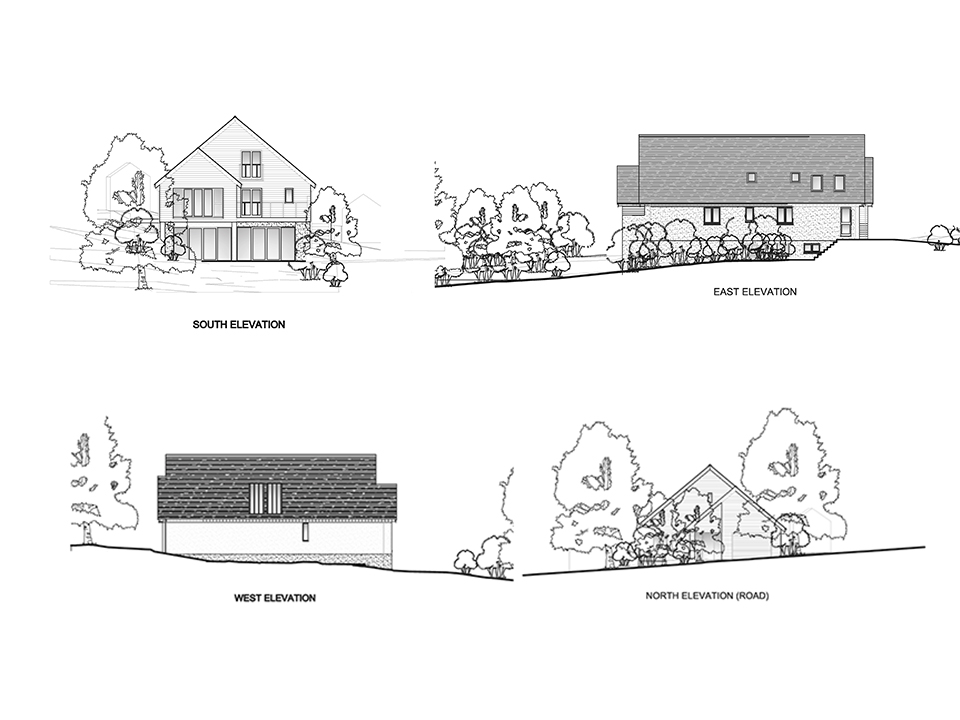 An image of an architectural drawing created by experts at Construction Interior Design, showing the elevations of each aspect of the house.
