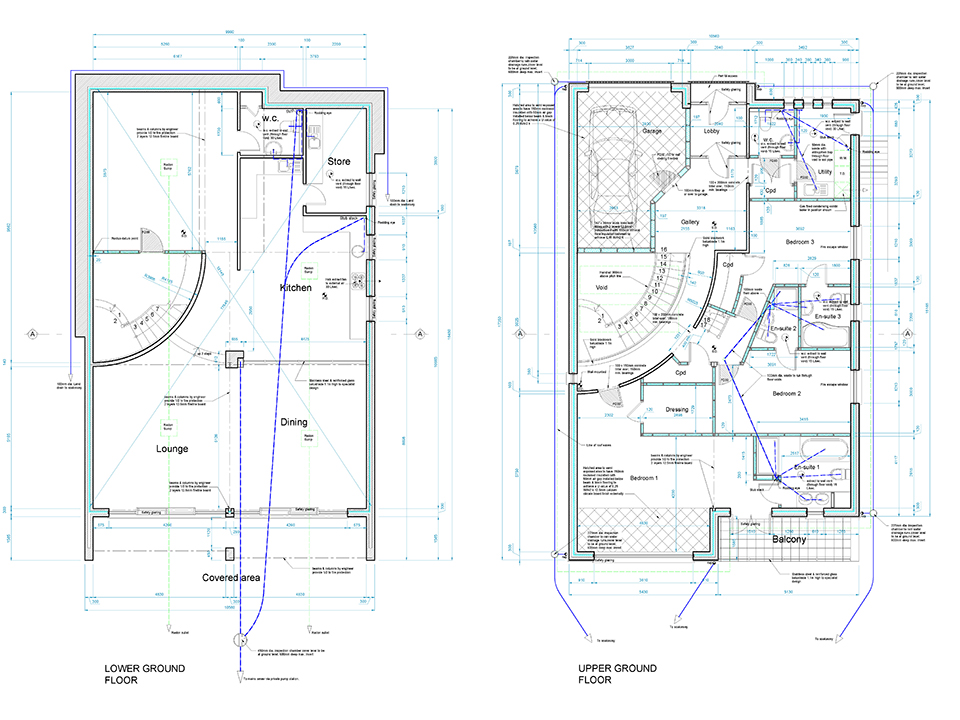 An image of architectural plans showing the lower and upper floors of a bespoke, large family dwelling.