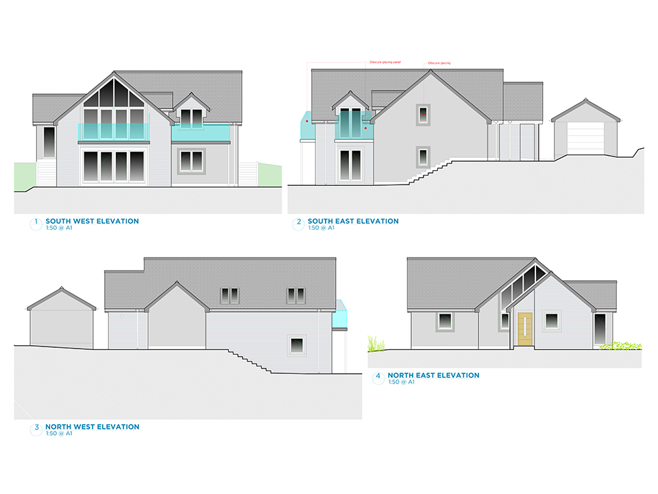 An image of design mock ups of a new build dwelling.