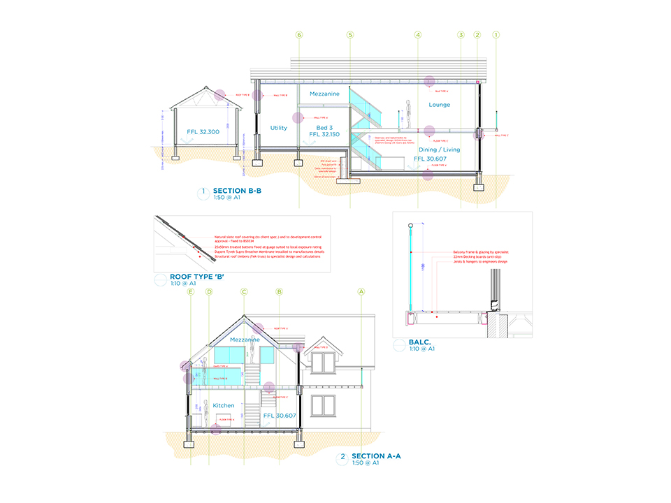 An image of an architectural drawing with detailed plans by Construction Interior Design.