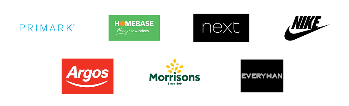 An image of a wide variety of logos from retail outlets that Construction Interior Design work with.