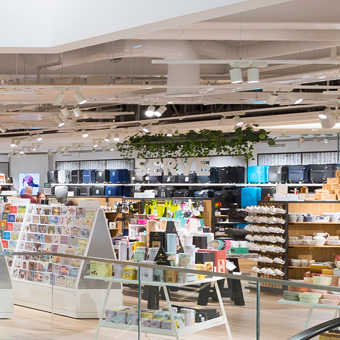 An image of suspended ceilings within a retail outlet, fitted by Construction Interior Design.