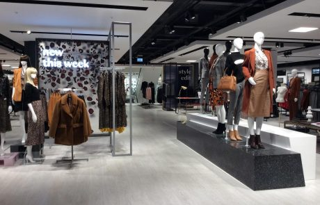 An image of suspended ceilings inside in Debenhams department store in Watford, installed by Construction Interior Design.