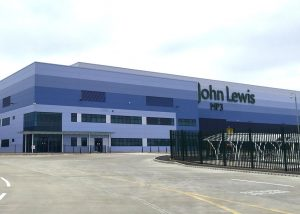 An image of the outside of a large John Lewis warehouse.