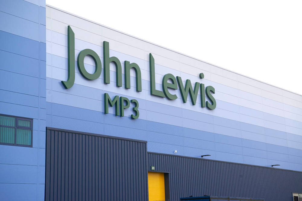 An image of the outside of the John Lewis warehouse in Milton Keynes, following on from refurbishment.