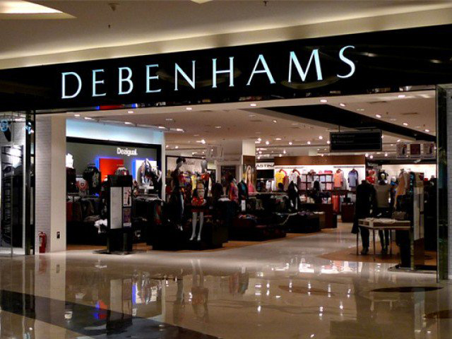 An image of the outside of department store, Debenhams.