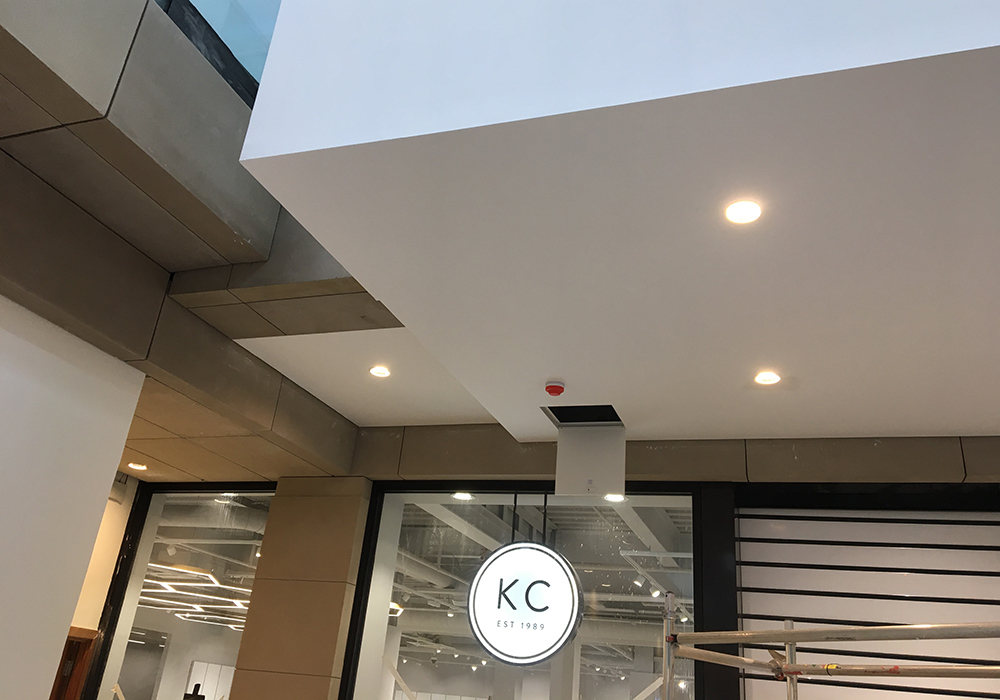 A close up image of suspended ceilings added to the Everyman cinema complex in Liverpool by Construction Interior Design Ltd.