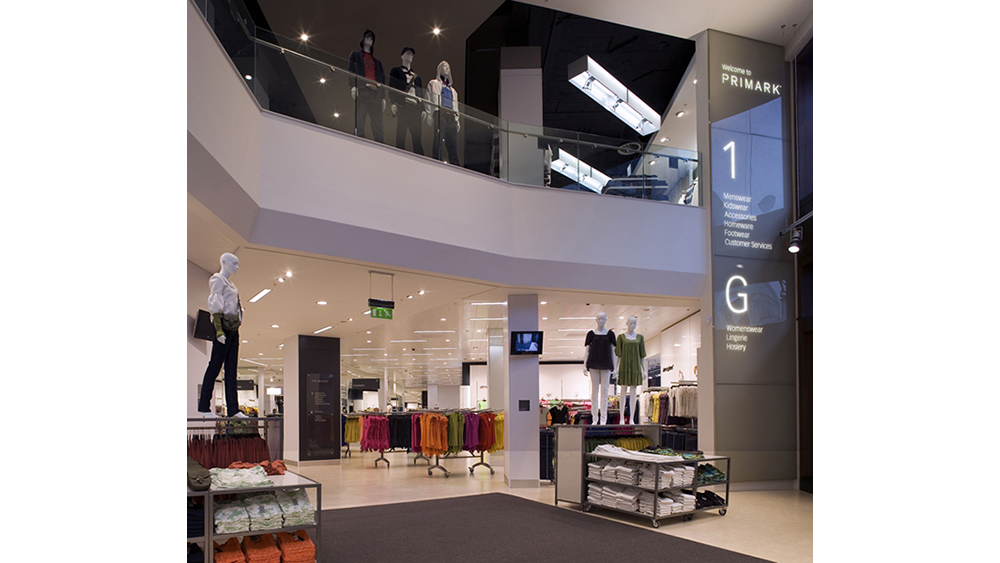 An image of the suspended ceilings and partition walls created by Construction Interior Design Ltd in Primark, Oxford Street.