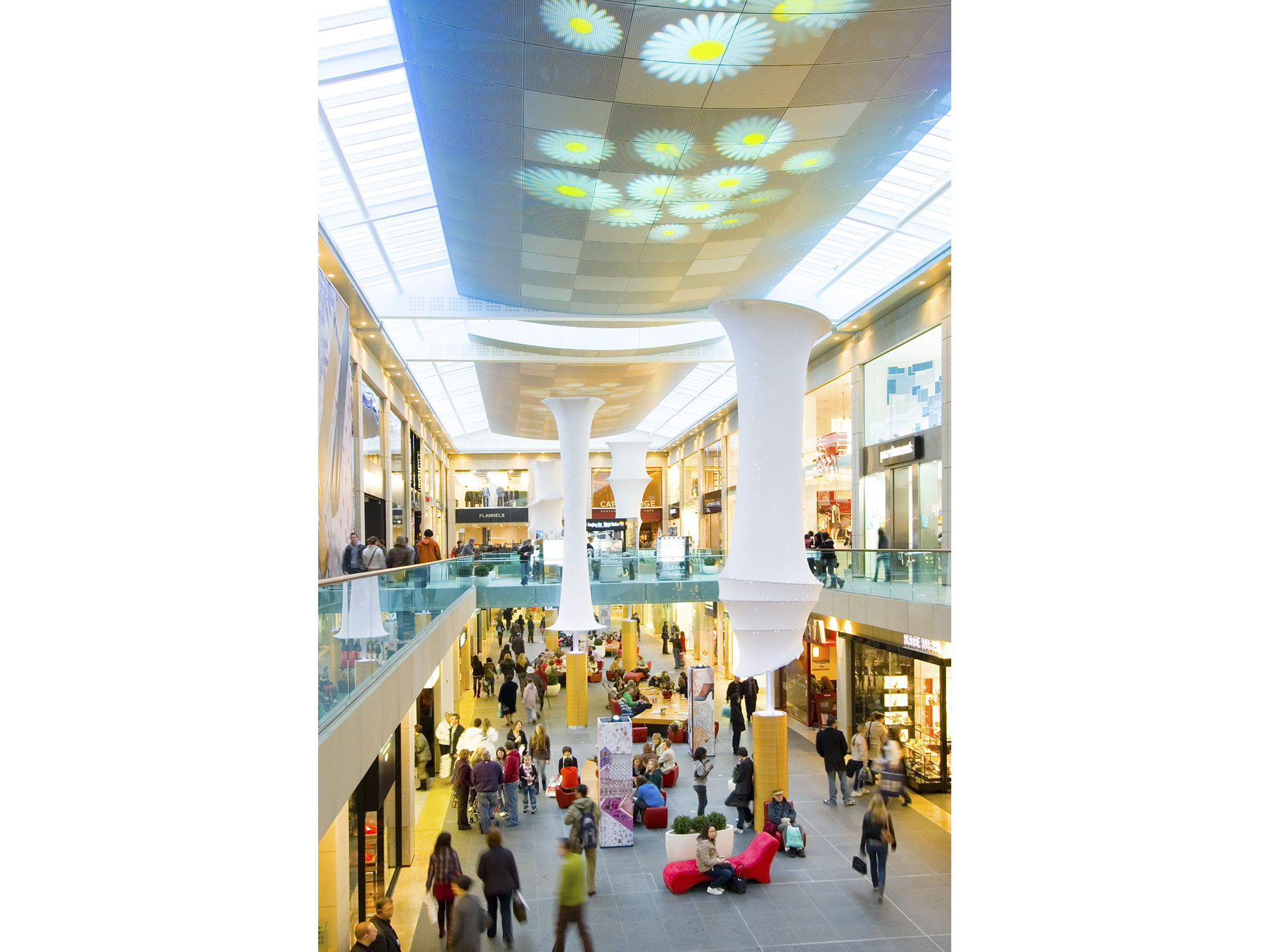 An image of a suspended ceiling inside Queensgate Shopping Centre, created by Construction Interior Design Ltd.