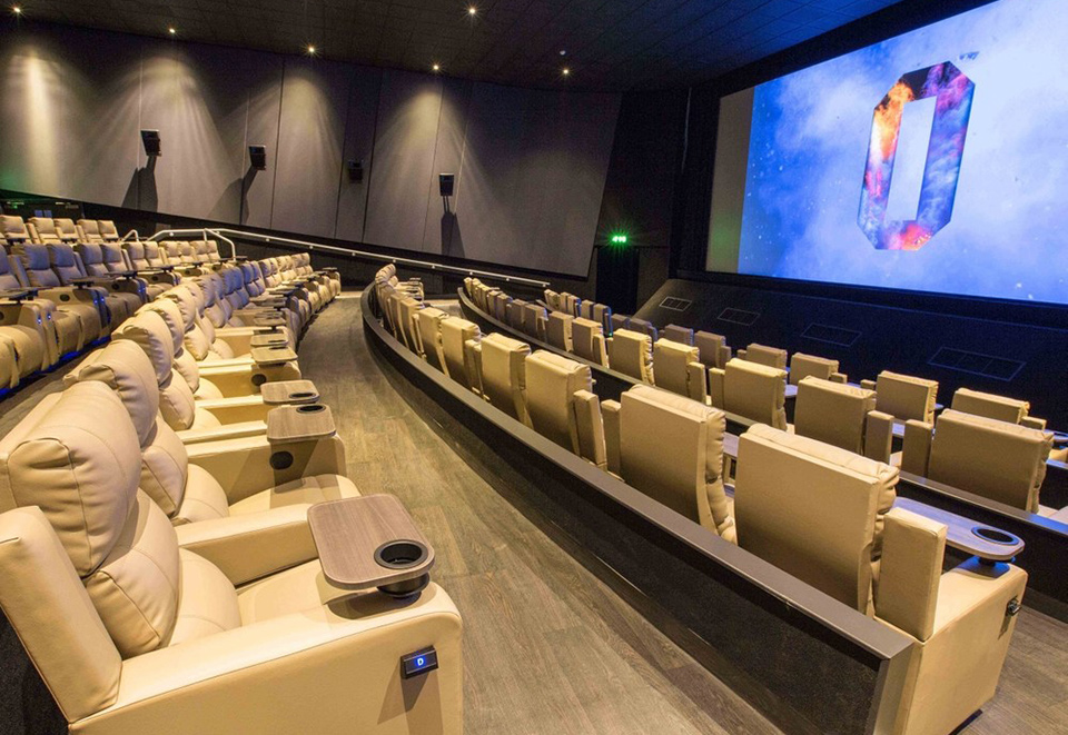 An image of the inside of an Odeon cinema screening, after completion of acoustic partitioning from Construction Interior Design Ltd.