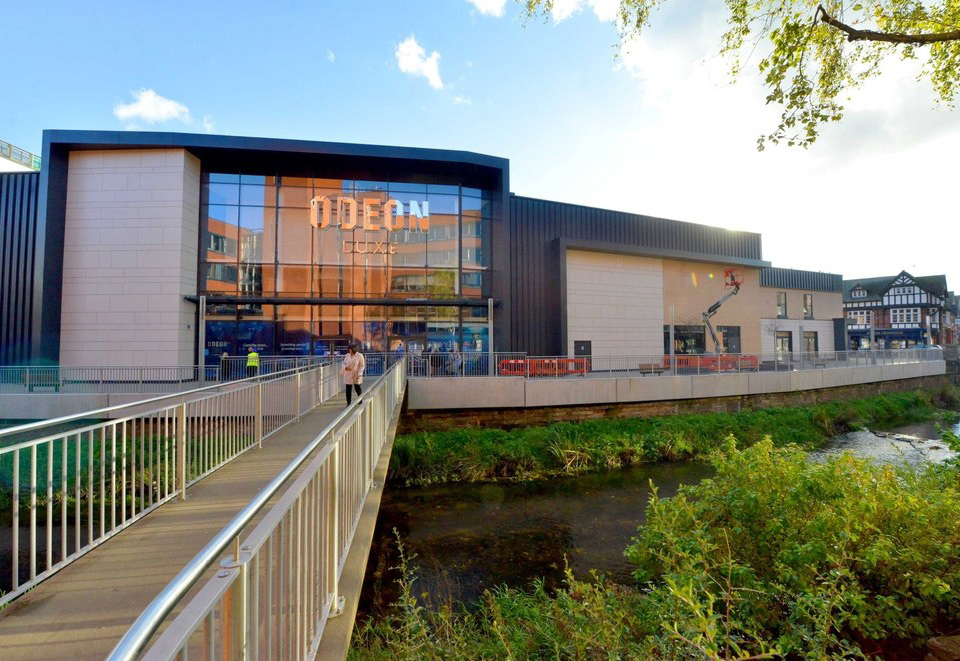 An image of the outside of the Odeon Cinema in Stafford, following completion of internal renovation by Construction Interior Design Ltd.