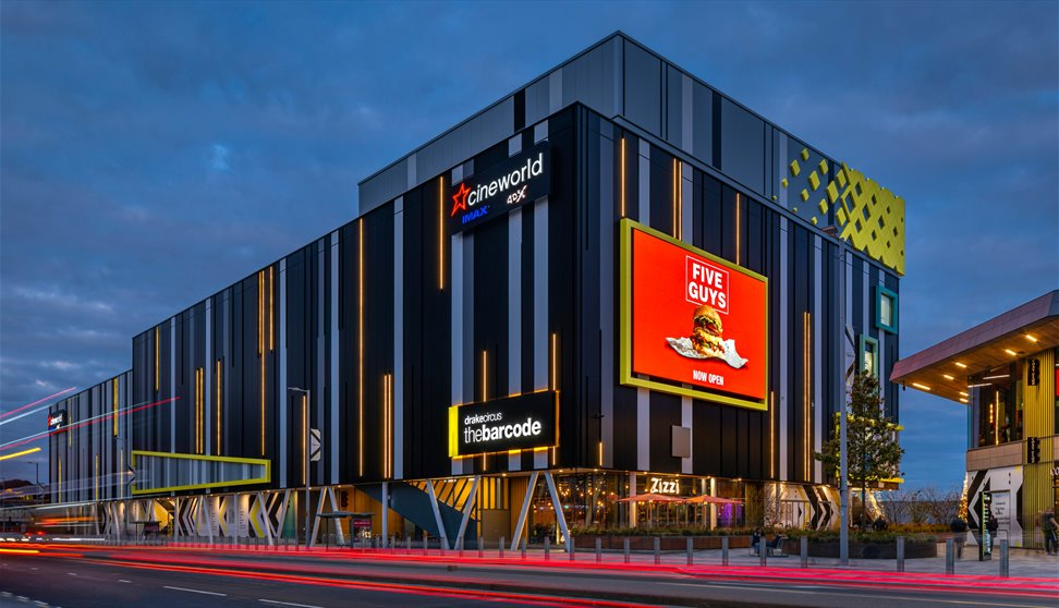An image of the colourful exterior of Cineworld in Plymouth