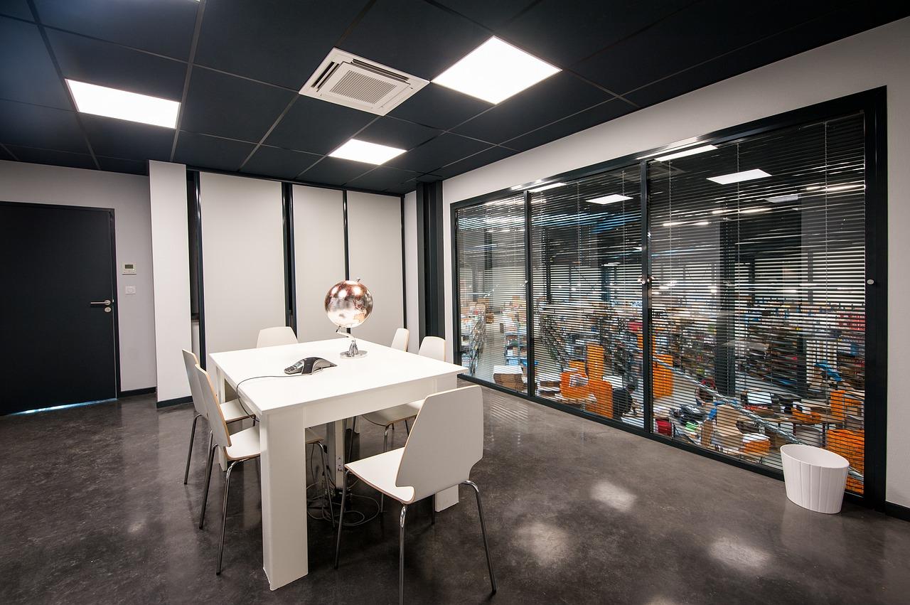 An office built on a mezzanine floor